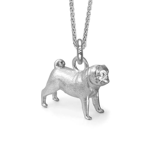 Cleo the Pug Charm, Silver with Wheat Chain