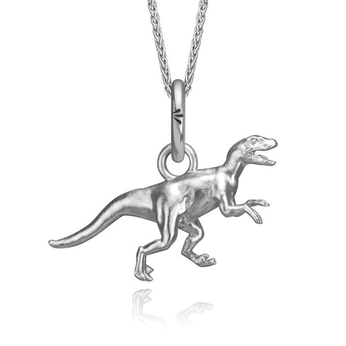 VDOT | VelociRaptor Dinosaur of Toronto Charm, Silver with Wheat Chain