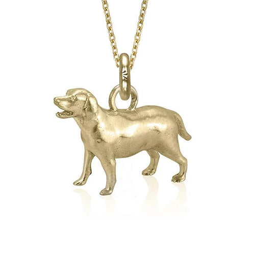 Flash the Retriever Charm, Yellow Gold