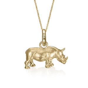 Rosco the Rhino Charm, Yellow Gold