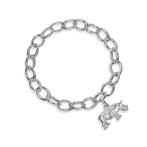 Rosco the Rhino Sterling Silver Hinged Charm Bracelet