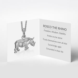 Rosco the Rhino Charm, Silver with Wheat Chain
