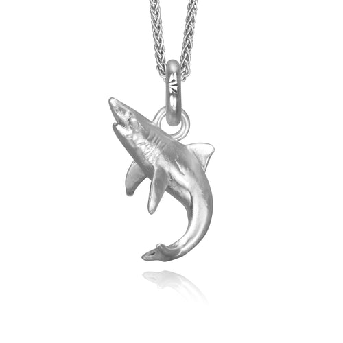 Bahamas the Shark Charm, Silver with Wheat Chain