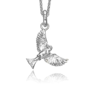 Swoup the Sparrow Charm, Silver with Wheat Chain