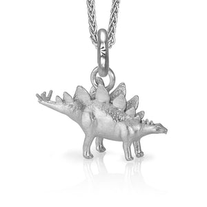 HotDog the Stegosaurus Charm, Silver with Wheat Chain