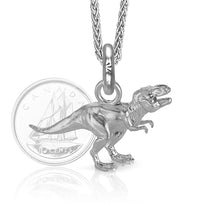 Rex the T. Rex Charm, Silver with Wheat Chain