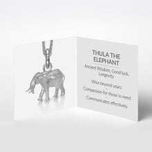 Thula the Elephant Charm, Silver with Wheat Chain