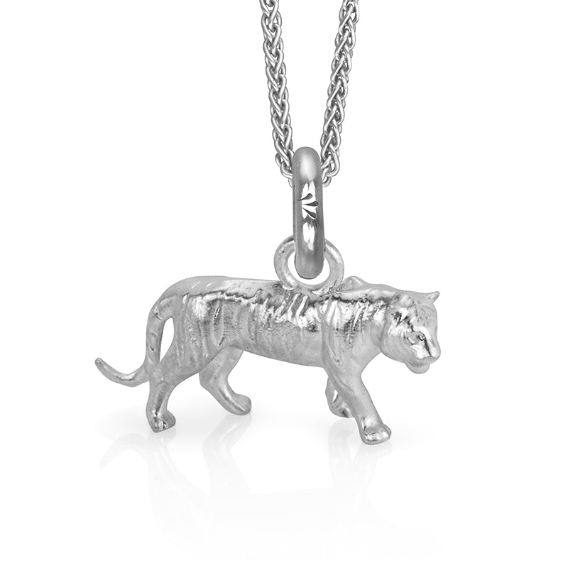 Dar the Tiger Charm, Silver with Wheat Chain