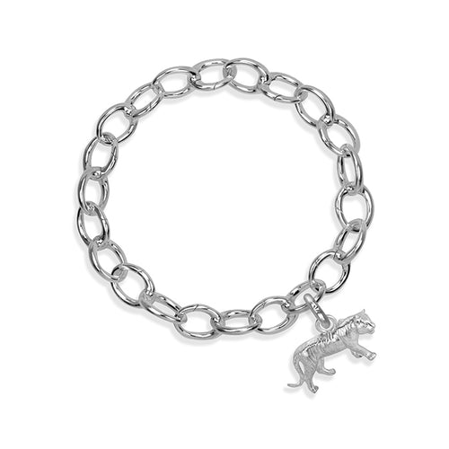 Dar the Tiger Sterling Silver Hinged Charm Bracelet