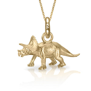 Denver the Triceratops Charm, Yellow Gold