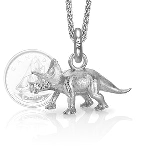 Denver the Triceratops Charm, Silver with Wheat Chain