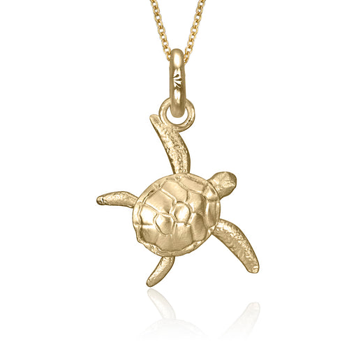 Kai the Sea Turtle Charm, Yellow Gold