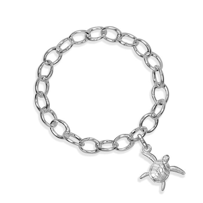 Kai the Sea Turtle Sterling Silver Hinged Charm Bracelet