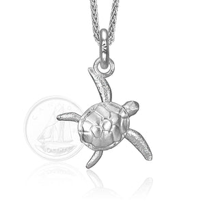Kai the Sea Turtle Charm, Silver with Wheat Chain