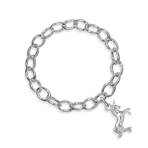 Karma the Unicorn Sterling Silver Hinged Charm Bracelet