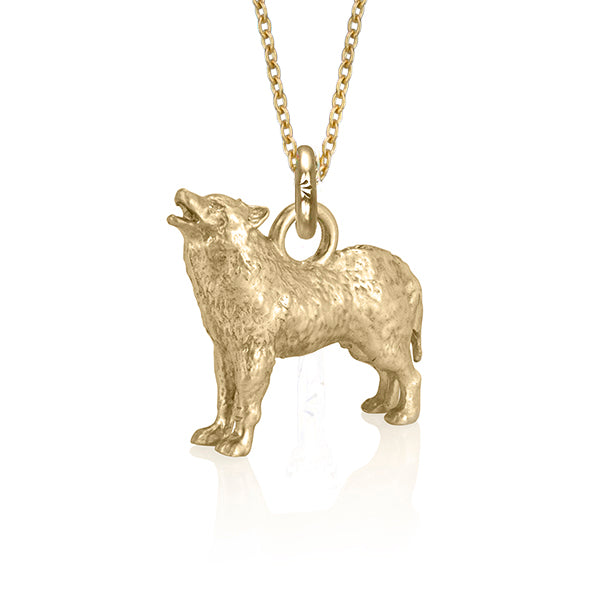 Copy of Biko the Wolf Charm, Yellow Gold