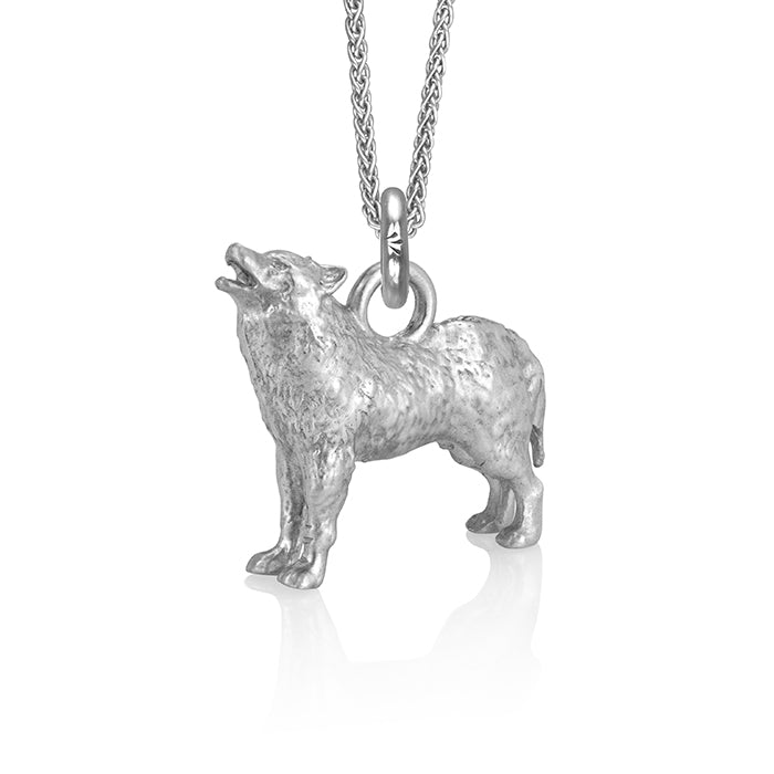 Biko the Wolf Charm, Silver with Wheat Chain