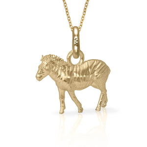 Arbez the Zebra Charm, Yellow Gold