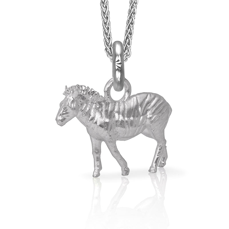 Arbez the Zebra Charm, Silver with Wheat Chain