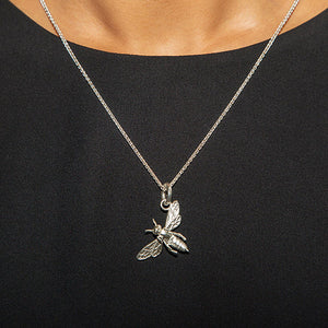 Tera the Honey Bee Charm, Silver with Wheat Chain
