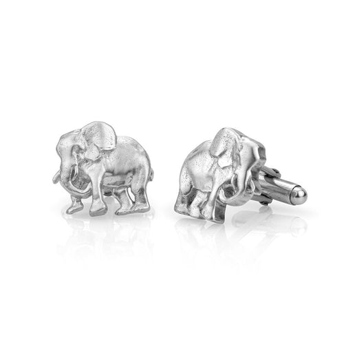 Solid Sterling Silver Elephant Cufflinks