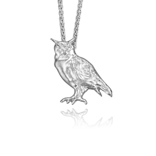 Merlin the Owl Charm, Silver with Wheat Chain
