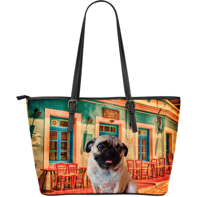 Pug Cafe Leather Tote