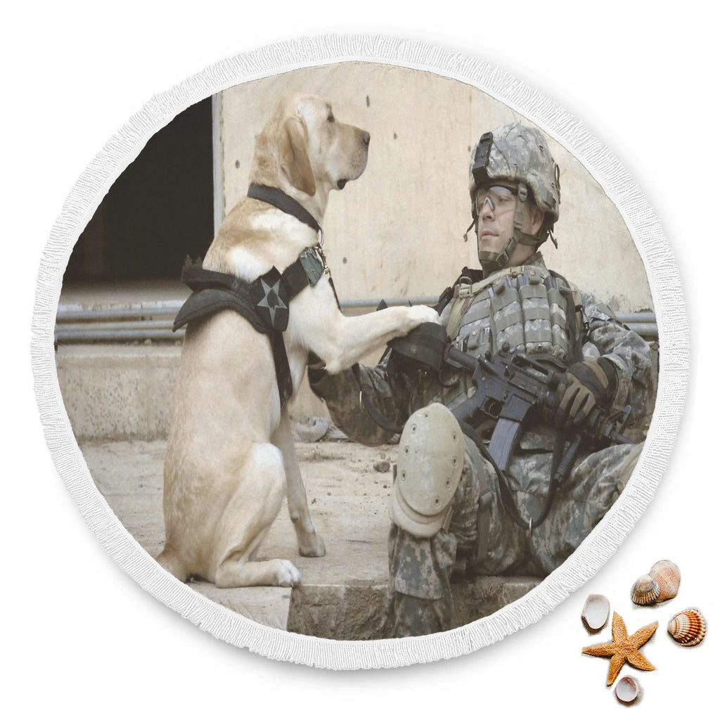 Service Dog Round Beach Blanket