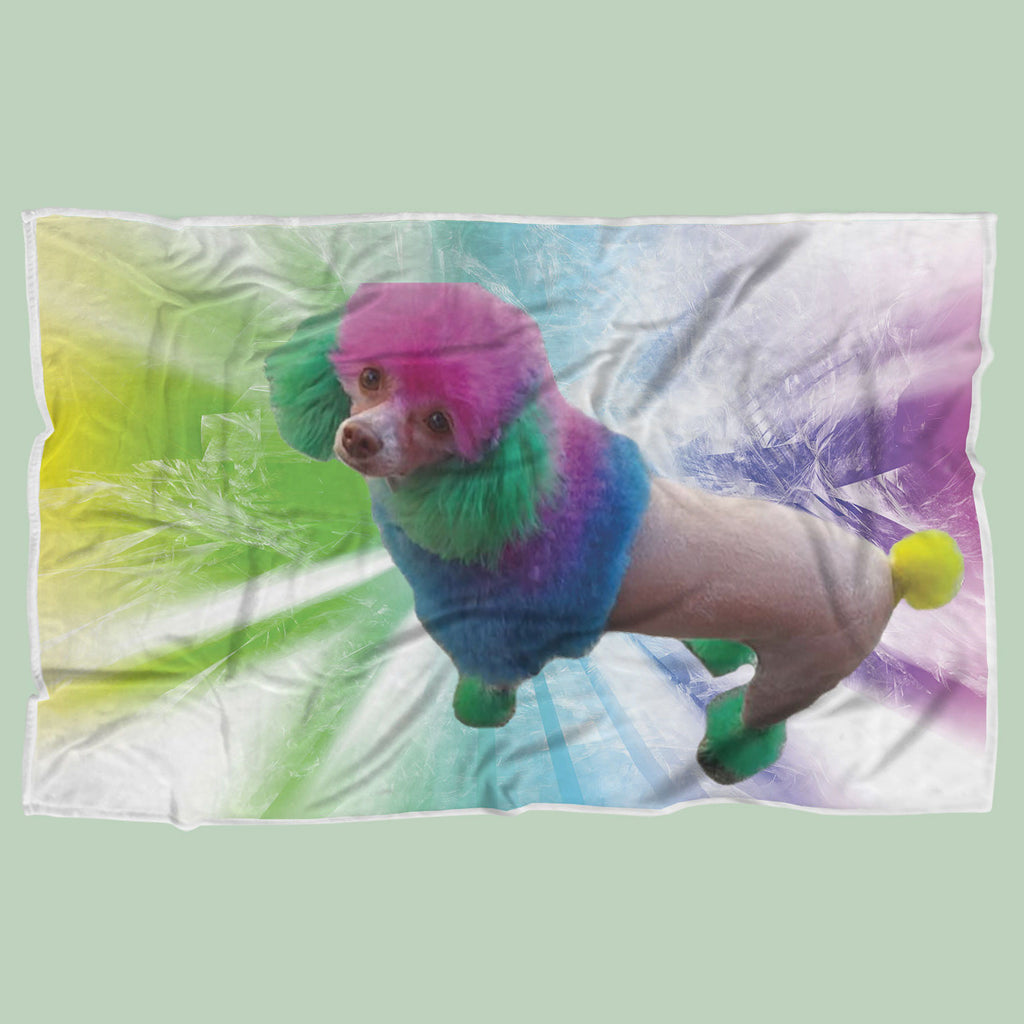 Custom Rainbow Poodle Blanket