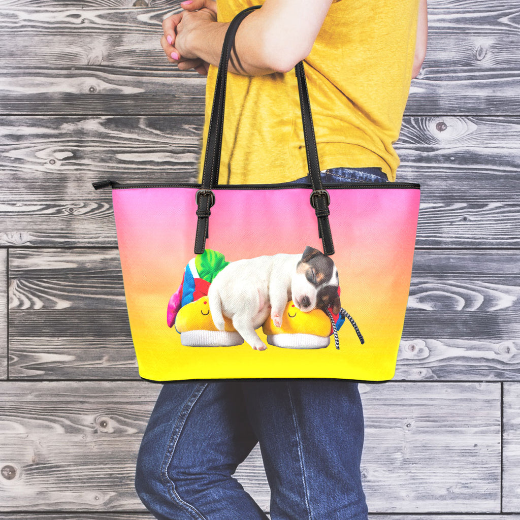 Puppy Naps Leather Tote
