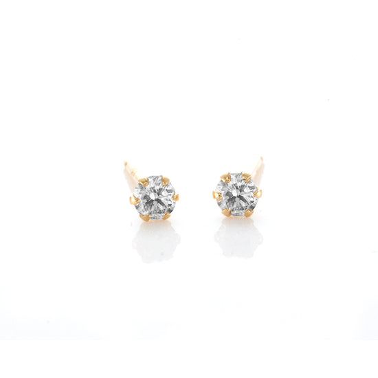 18K Solitaire Diamond Earrings