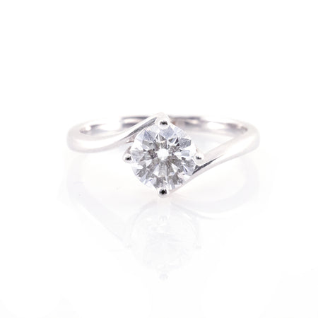 Bypass Four-Prong Solitaire Engagement Ring (Mounting)