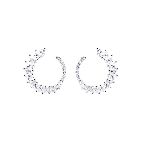 C-Shaped Diamond Earrings