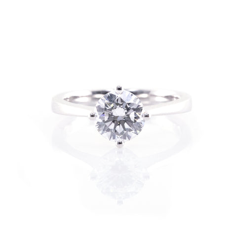 Reverse Tapered Four-Prong Solitaire Engagement Ring (Mounting)