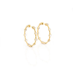 Diamond Medium Hoop Earrings