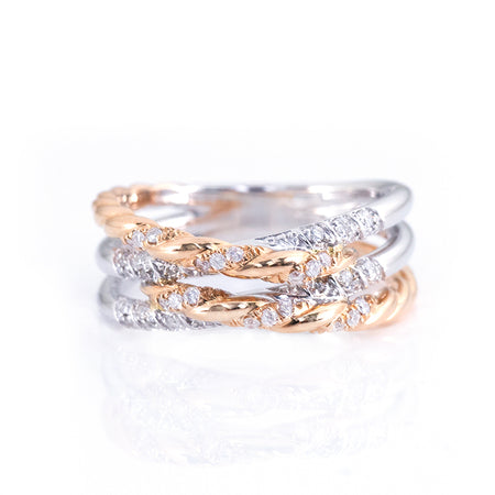 Double Twisted Cross Diamond Ring