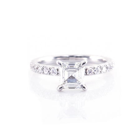 Four-Diamond Prong Pavé Engagement Ring (Mounting)