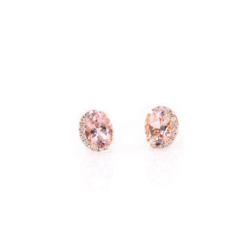 Halo Oval-Shaped Morganite Earrings