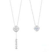Rhombus-Shaped Diamond Necklace with Removable Pendant