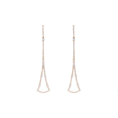 Circular Sector-Shaped Diamond Drop Earrings