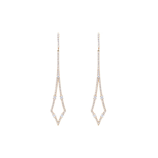 Diamond-Shaped Diamond Drop Earrings