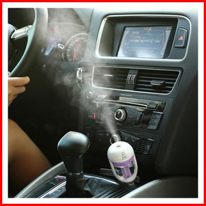 Car Mini Humidifier Air Purifier (With 10Ml Scent) - Humidifier