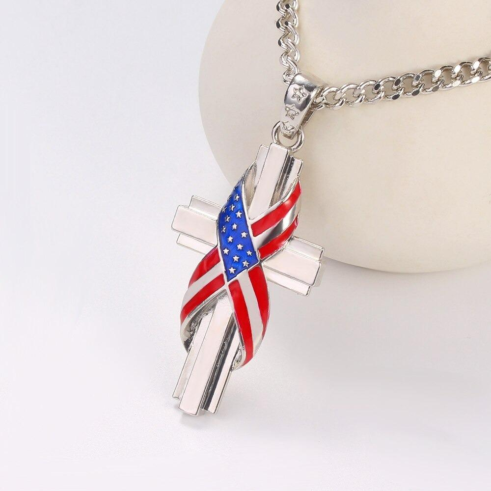 In God & Country We Trust - Flag Cross Pendant Necklace
