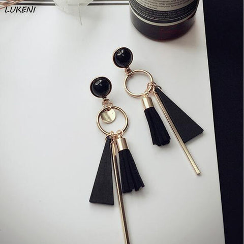 1 Pair Newest Simple Elegant Women Stud Earrings Geometric Long Tassel Earrings