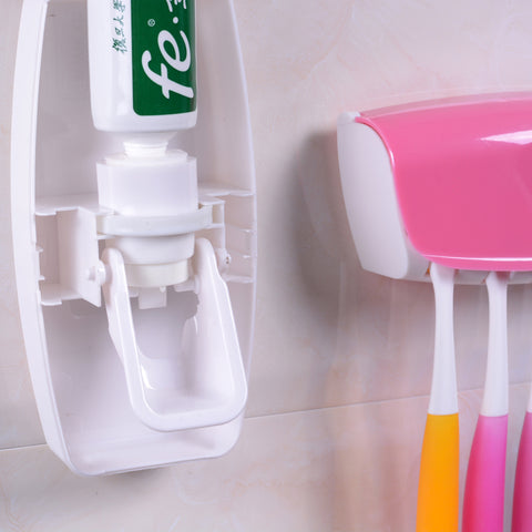 1 Set Creative Automatic Plastic Lazy Toothpaste Dispenser 5 Toothbrush Holder