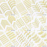 1 Sheet Gold Silver Metal 3D Nail Sticker Stripes Wave Line Multi-size