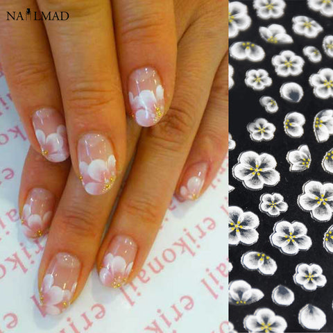 1 sheet Flower Nail Art Stickers White Lace Nail Sticker Acrylic Flower
