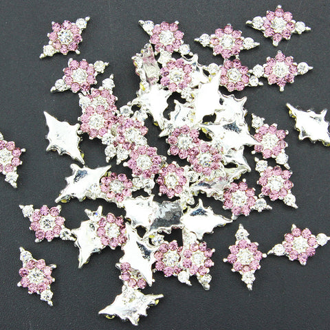 10 Pcslot 3d Pink Jewelry Nail Art Glitter Silver Crystal