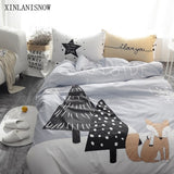 100% Cotton Cute Home Rabbit Printed Bedding Set Kids Comfortable Bed Set with Flat Sheet 4Pcs