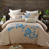 100% Egypt Cotton Coffee Bule Embroidery Luxury Oriental Bedding set